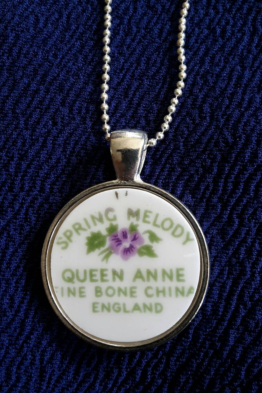 "Queen Anne China Back-Stamp ""Spring Melody"" -  Pendant (P110)"