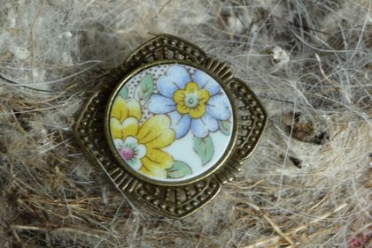 Yellow & Blue flowers Ring (R144)