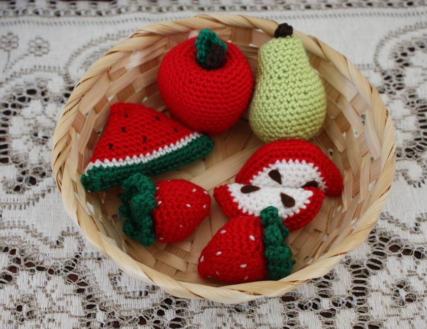 Crochet Play Food Red Fruit Set