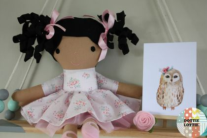 ***SALE ITEM*** Rosie Fabric Doll - Pink Floral Dress