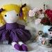 Rosie Fabric Doll - Purple Polka Dot Dress