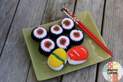 Crochet Sushi Play Food Set