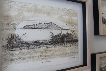 Kapiti Island.  Hand printed etching with woodblock relief