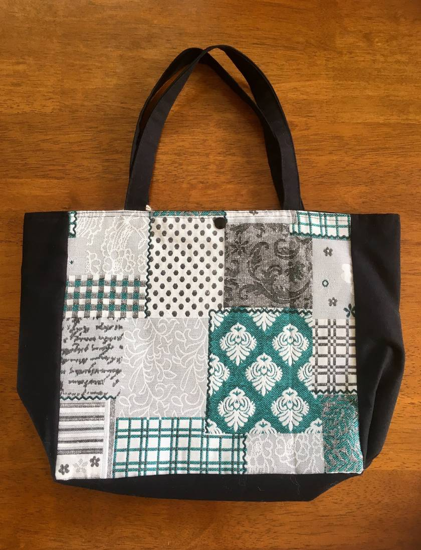 GREEN/GREY PATTERN TOTE/PROJECT BAG