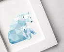 Polar bear and Cub, Geometric animal print, Original illustration