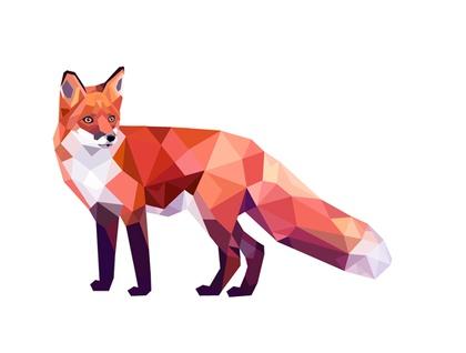 Red Fox 2, Geometric animal print, Original illustration