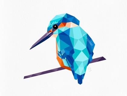 Kingfisher Geometric Print Original Illustration Bird