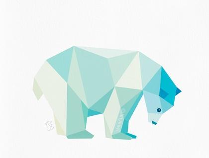 Polar Bear Geometric Print Original Illustration Animal