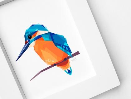 Kingfisher New Zealand Bird Geometric Print Bird Print