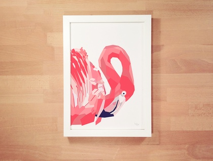 Pink flamingo geometric wall art wall print bird decor for Minimal art wall