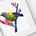 Bellbird print, Bellbird art, Native New Zealand birds, New Zealand art, Geometric bird, Tui, Kiwi, NZ artist, Green and red, NZ postcard