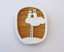 Castle in the sky brooch - oak and white acrylic