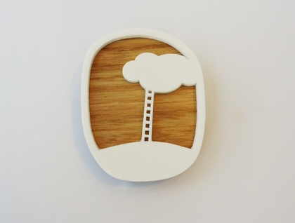 Cloud ladder brooch - oak and white acrylic