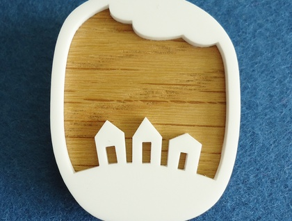 Little houses brooch - oak and white acrylic