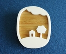 Little house and tree brooch - oak and white acrylic
