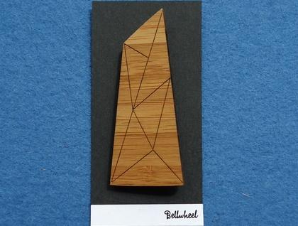 Geometric bamboo brooch