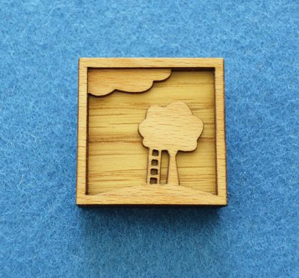 Tree and ladder brooch - shadow box