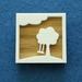 Tree swing brooch - oak and white acrylic