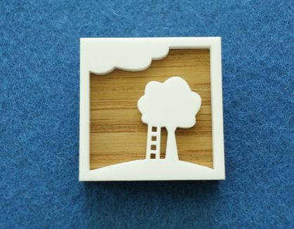 Tree and ladder brooch - oak and white acrylic