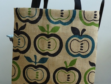 Apples jute tote bag - green and teal blue