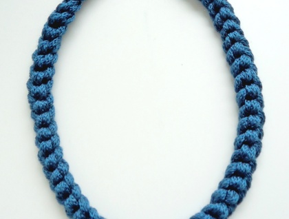 Deep turquoise knitted necklace - long