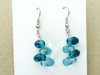 Turquoise / blue dangly glass earrings