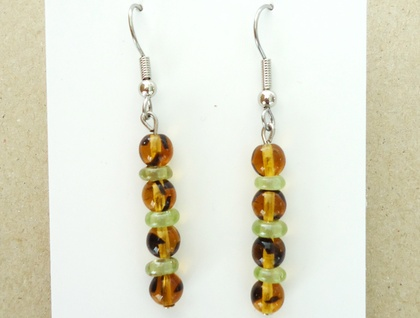 Amber and green dangly earrings