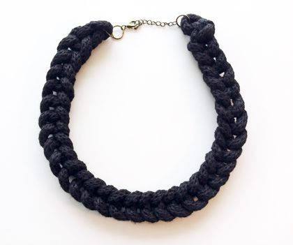 Black knitted necklace