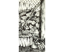 Woodpile pen and ink drawing