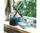 'Jars on the Windowsill' original chalk pastel drawing