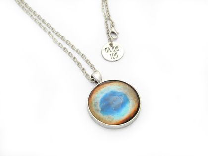 Colourful Ring Nebula Astronomy Necklace- Glass Cabuchon 1.81in/ 30mm- Astronomy Jewellery- Outer Space & Science