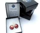 Massive Star- Pink Astronomy Glass Cabochon Earrings, diameter 18mm/0.71in. A Massive Star in a Diffuse Nebula