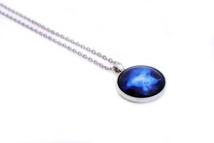 Cosmic Cabochon Necklace - Galaxy Jewellery - Astronomy Pendant - Striking Bright Blue Contrast - Wind Nebula - Outer Space & Science