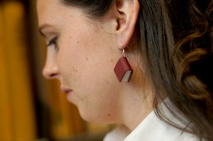 Maroon Red Leather Bound Miniature Upcycled Book Earrings- Handcrafted