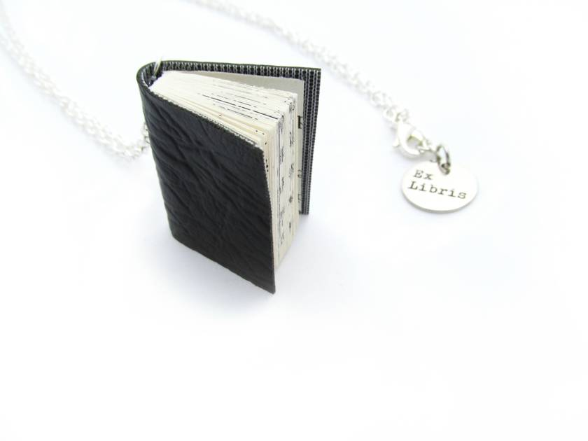 Black Vinyl Bound Handcrafted Miniature Book Necklace- Upcycled & Animal Friendly (vegetarian/ leather free)