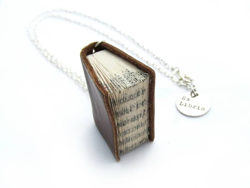 Classic Brown Book Necklace Handcrafted/ Upcycled -Leather Bound Miniature