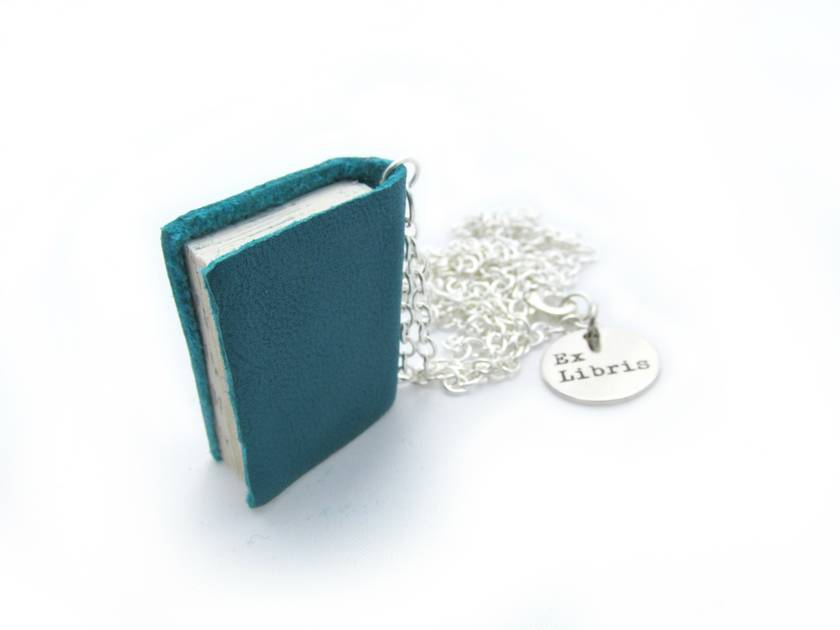 Teeny Tiny Teal Miniature Book Necklace Handcrafted from Upcycled Books and Leather Bound