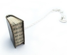 Classic Black Leather Literature- Leather Bound Handcrafted Miniature Book Necklace- Upcycled