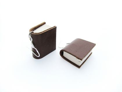 Miniature Leather Bound Upcycled Book Earrings- Handcrafted in Brown Leather