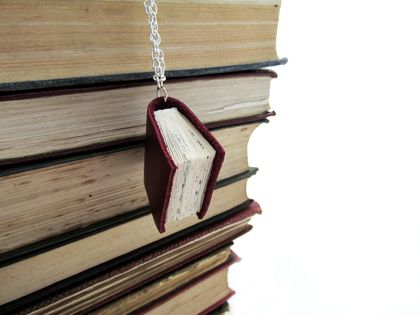 Decadent Deep Marron Leather Bound Handcrafted Miniature Book Necklace- Upcycled