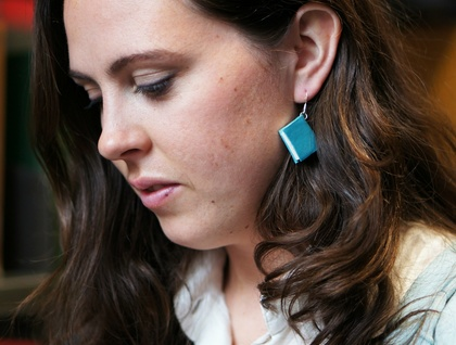 Leather Bound Miniature Upcycled Book Earrings- Handcrafted in Soft Teal Leather
