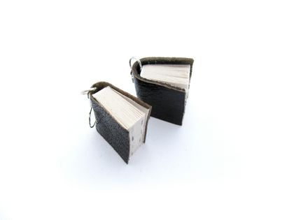 Black Leather Miniature Book Earrings- Upcycled /Handcrafted for a Literature Lover