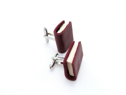 Miniature Maroon (red) Handcrafted Book Cuff Links For Him- Teeny Tiny, Miniature, Literature