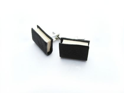 Black Leather Miniature Handcrafted Book Cuff Links For Him- Teeny Tiny, Miniature, Literature