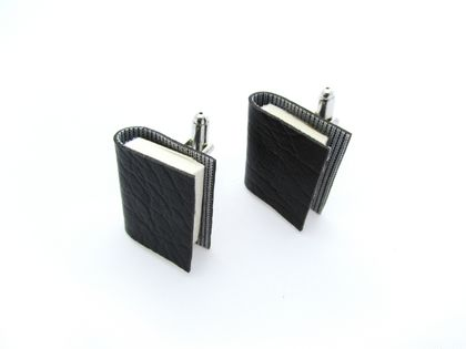 Black Vinyl Miniature Handcrafted Book Cuff Links For Him- Teeny Tiny, Miniature, Literature