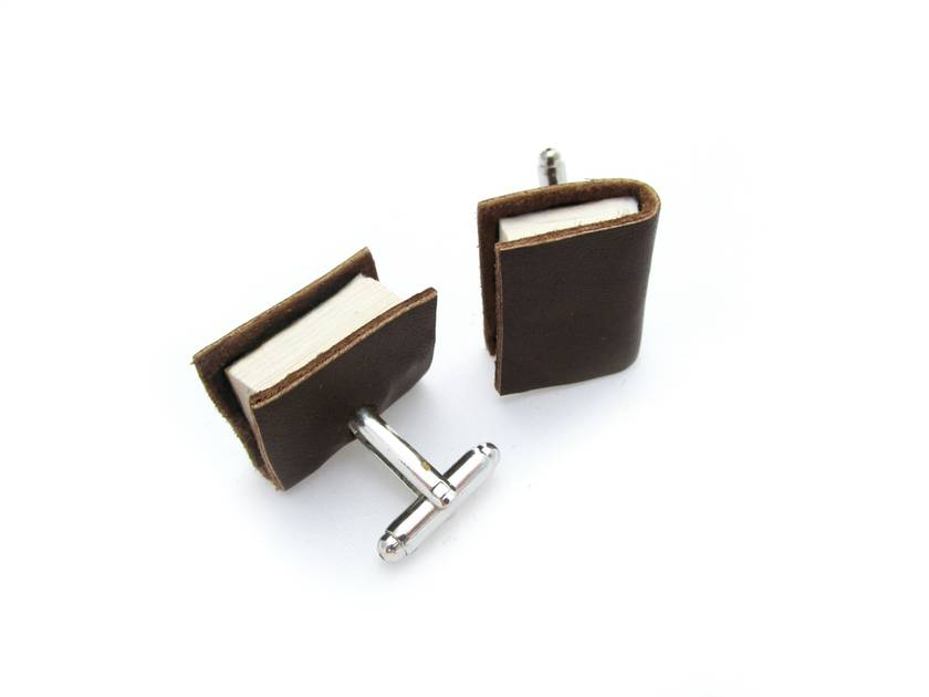 Brown Leather Miniature Handcrafted Book Cuff Links For Him- Teeny Tiny, Miniature, Literature