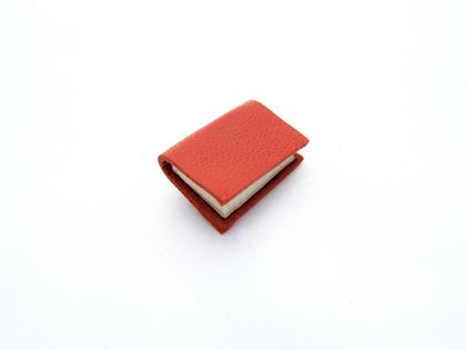 Bright Orange Handcrafted Miniature Book Brooch For Her- Soft Buttery Orange Leather