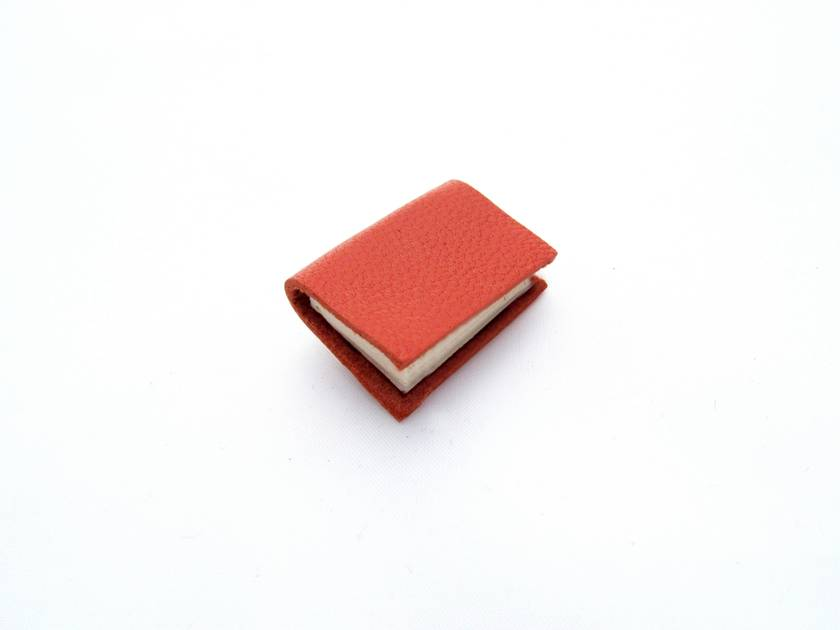 Bright Orange Handcrafted Miniature Book Brooch For Him or Her- Soft Buttery Orange Leather