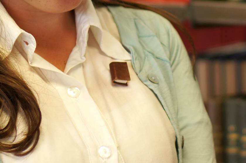 Soft Brown Leather Miniature Handcrafted Book Brooch For Her- Teeny Tiny, Miniature, Literature