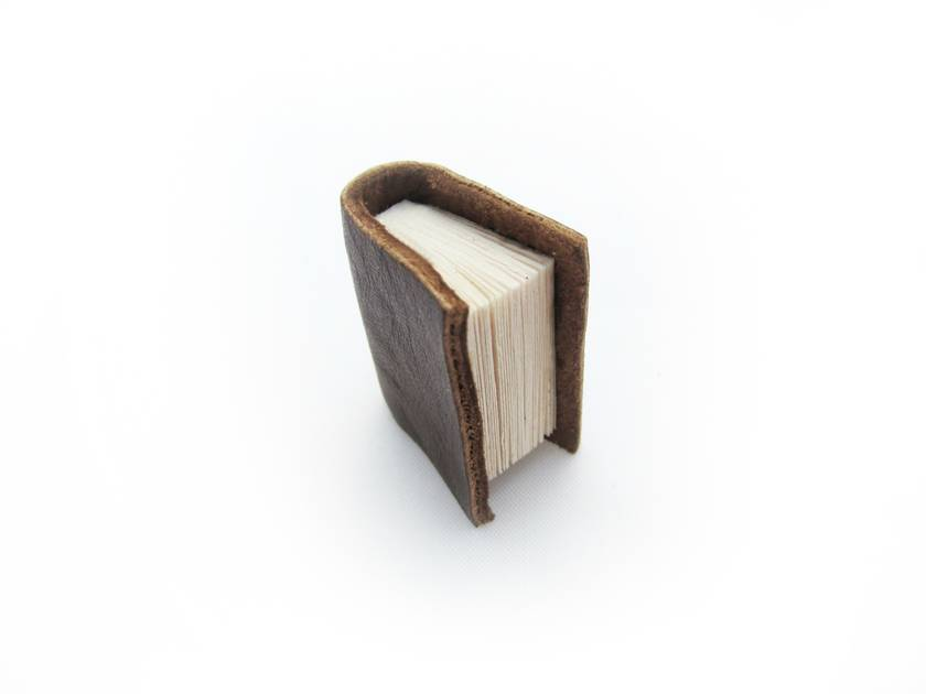 Soft Brown Leather Miniature Handcrafted Book Brooch For Him- Teeny Tiny, Miniature, Literature